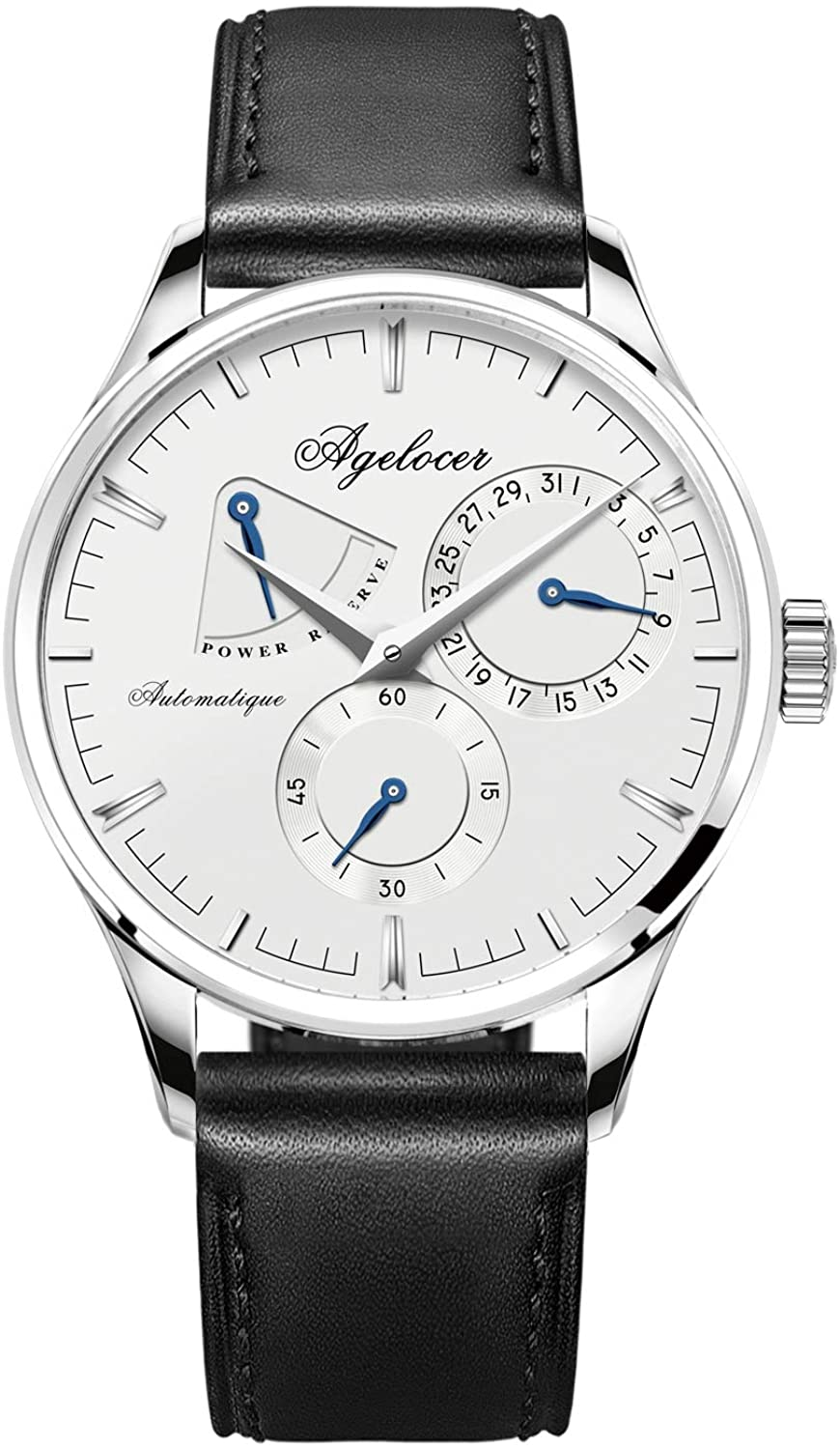 Agelocer Men's Top Brand Luxury Mechanical Automatic Calendar Power Reserve Analog Watch