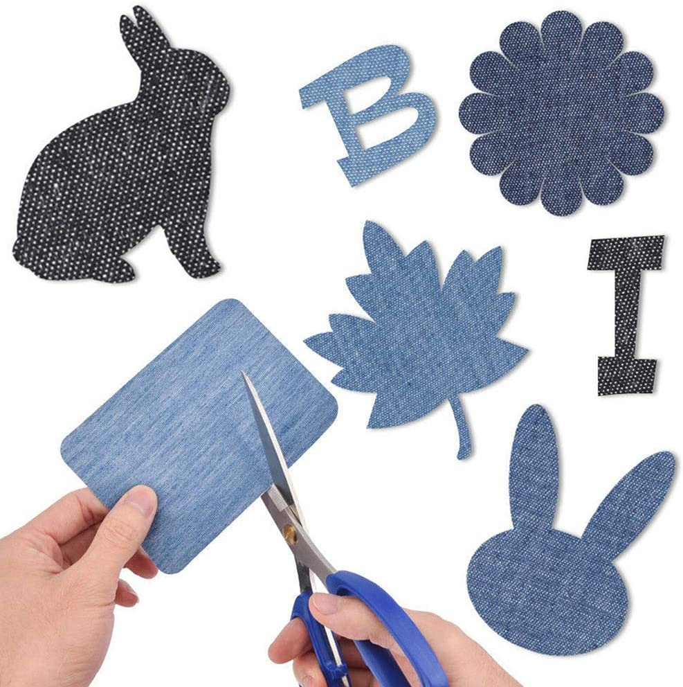TiSkying DIY Iron on Denim Fabric Pads, Clothing Jeans Repair Kit Iron on Patches for Clothing Repair 30Pcs