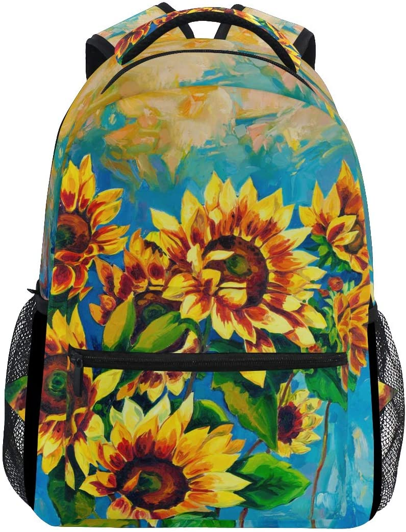 ALAZA Sunflower Floral Large Backpack Personalized Laptop iPad Tablet Travel School Bag with Multiple Pockets
