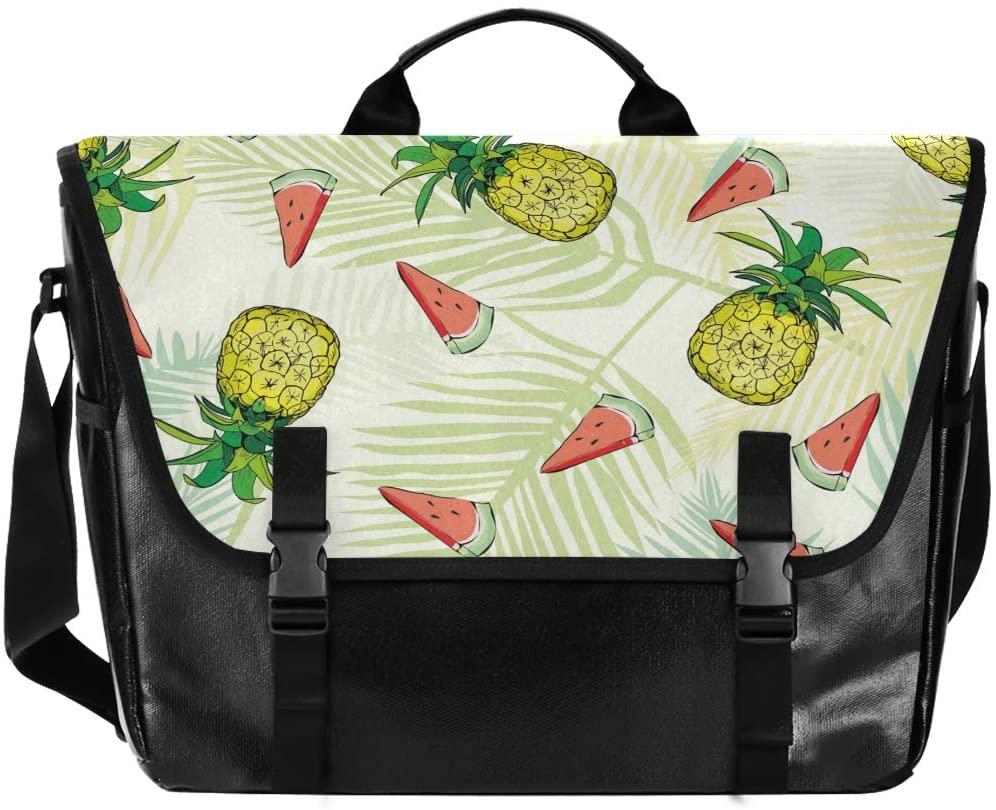 ALAZA Messenger Bag 15.6 Inch, Pineapples Watermelon Fruit Palm Leaf Laptop Briefcase Waterproof Satchel Bag Crossbody for Work Traveling Camping