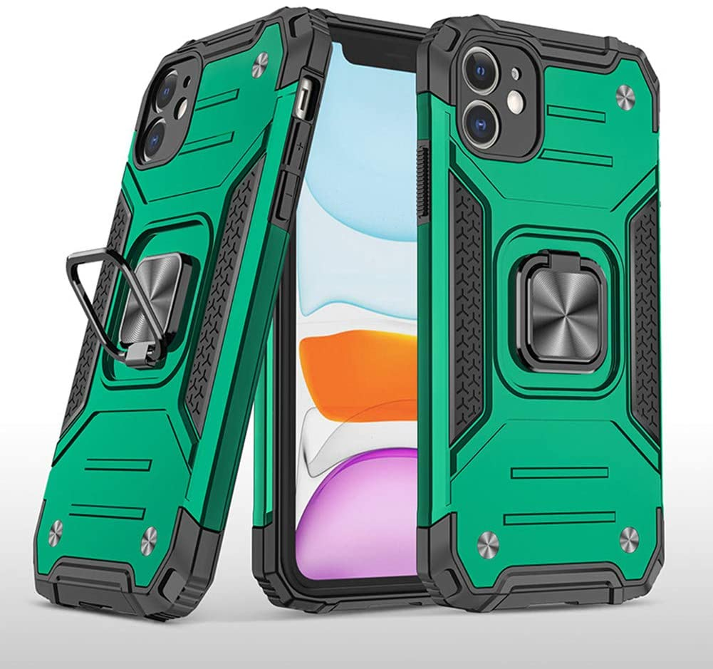 KESV Suitable for iPhone 6 Plus Military Style Protective Dual Layer Case W/Metal Ring Grip Holder & Kickstand | Full Body Protection for iPhone 6 Plus [Dark Green]
