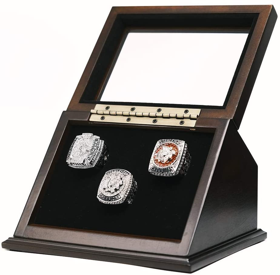 3 Slots V Style Championship Rings Wooden Display case Shadow Box with Slanted Glass Window for Football Rings Basketball Hockey Sports Championship Rings - Rings are Not Included