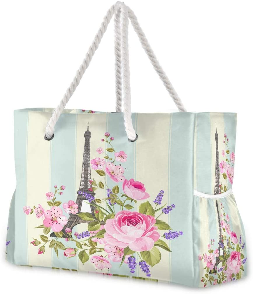 Beach Tote Bags Paris Eiffel Tower Floral Flowers Travel Tote Bag Large Gym Tote Bag Shoulder Handbag for Women