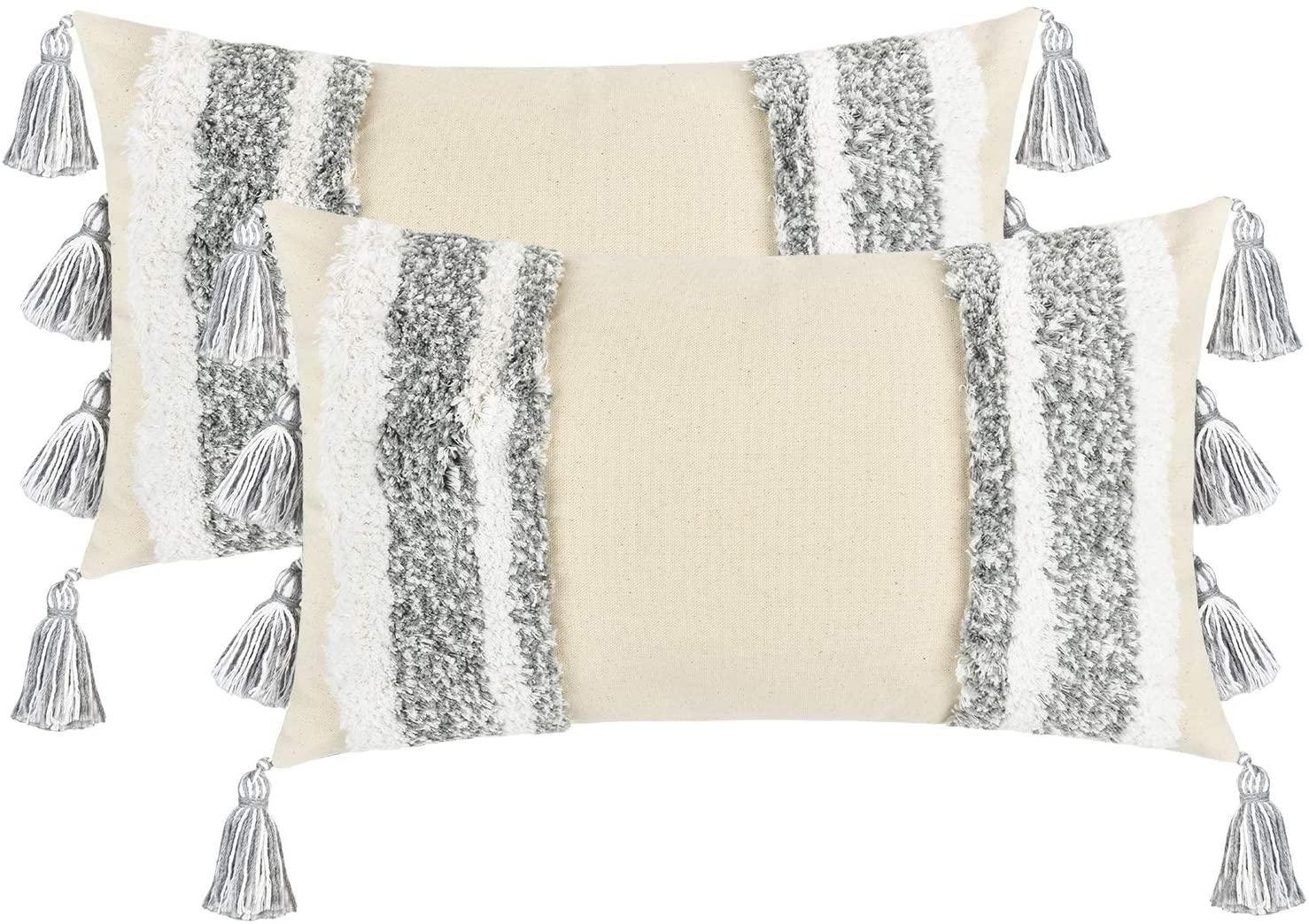 Boho Woven Tufted Throw Pillow Cover, Tufted Decorative Pillowcase with Tassels, 2 Pack Lumbar Pillow Cover Super Soft Cushion Cover for Sofa Couch Bedroom Car Living Room, Grey (12 X 20 Inch)