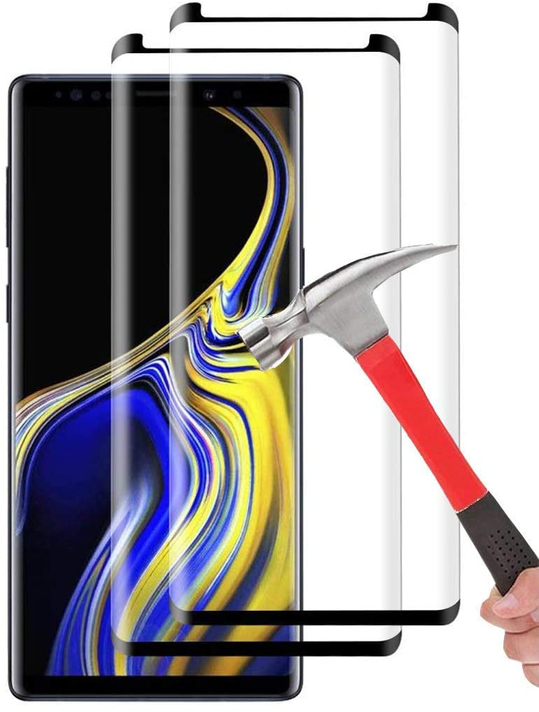 Galaxy Note 9 Screen Protector Tempered Glass, [2-Pack] Keklle Case Friendly Bubble-Free Scratch-Resistant Crystal Clear 3D Curved 9H Hardness Screen Protector for Samsung Note 9