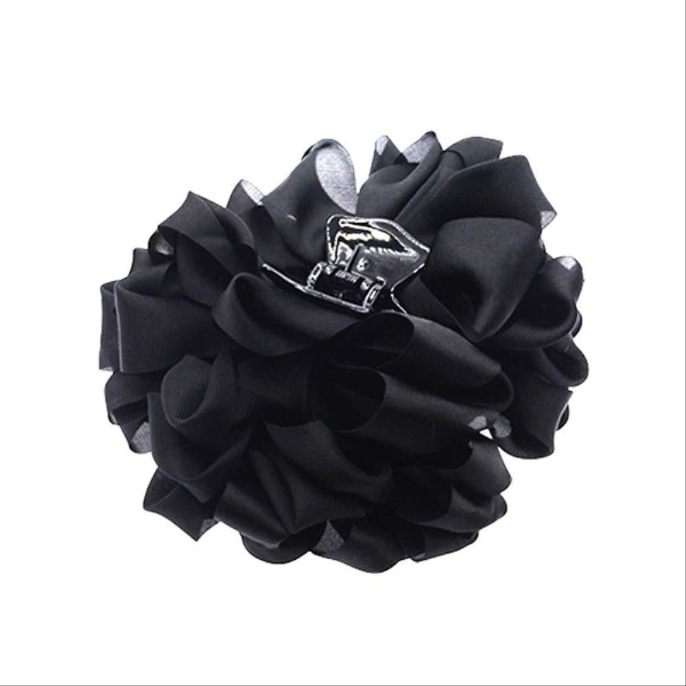 Big Silk Flower Bow Hair Clip Jaw Pliers for Women Hair Clips Hair Barrettes Girls Hair Accessories Black