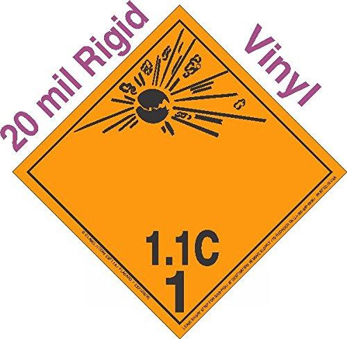GC Labels-R11Ci, Explosive Class 1.1C Wordless 20mil Rigid Vinyl DOT Placard, each Placard
