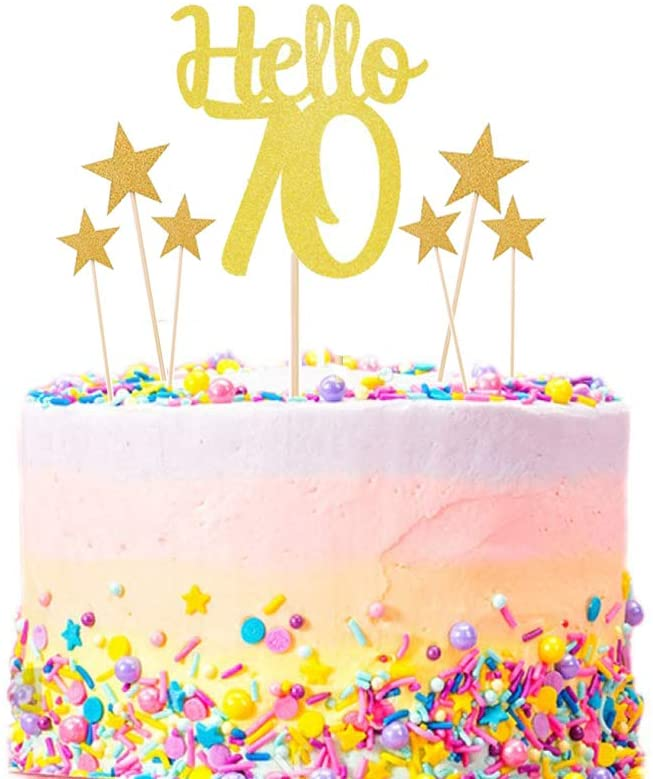 AOYOJO Happy 70th Birthday/Wedding Cake Topper Kit - Gold Glitter Hello 70 Cake Topper & Twinkle Twinkle Little Star Cake Topper- Happy Birthday/Wedding Party Decorations (70th)