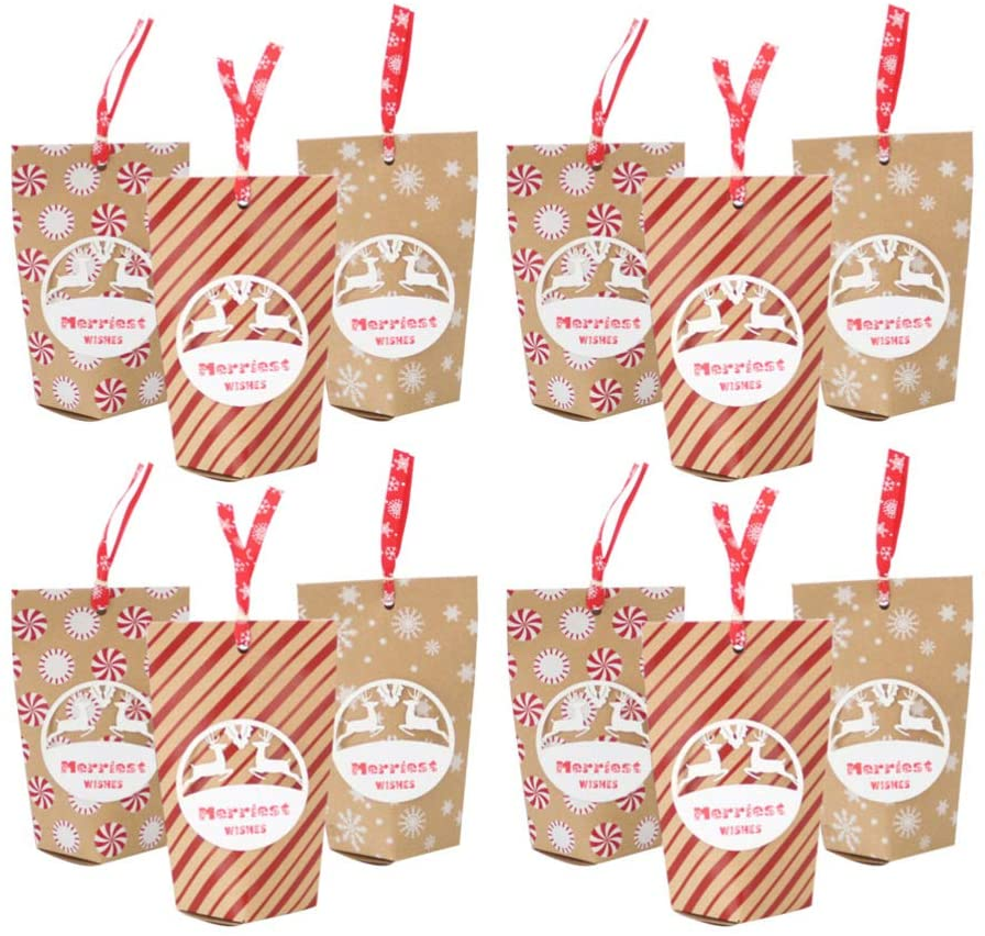 Amosfun 12pcs Christmas Candy Gift Bags Party Favor Treat Bags Kraft Paper Bags Christmas Party Supplies Random Pattern