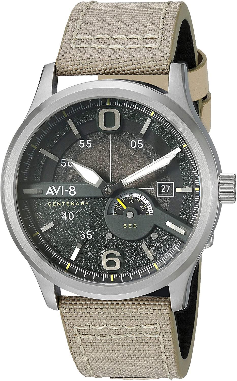 AVI-8 Men's FLYBOY Centenary 1980S Stainless Steel Japanese-Quartz Watch with Leather Strap, Grey, 20 (Model: AV-4061-01)