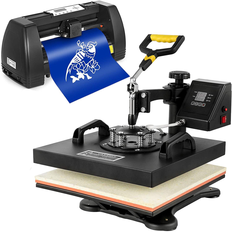 Mophorn Heat Press 15x15 inch Heat Press Machine 5 in 1 for T-Shirt and Vinyl Cutter 14 inch Plotter Machine 375mm Paper Feed Vinyl Cutter Plotter