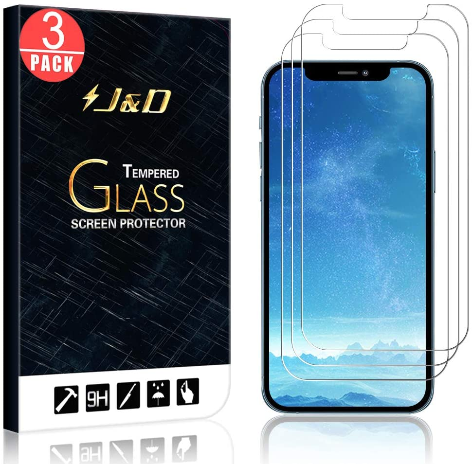 J&D Compatible for iPhone 12 Pro Max Glass Screen Protector (3-Pack), Not Full Coverage, Tempered Glass HD Clear Ballistic Glass Screen Protector for iPhone 12 Pro Max Glass Film