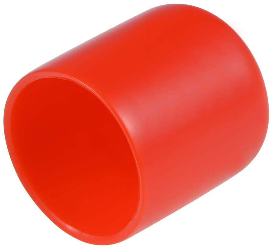 uxcell 10pcs Rubber End Caps 27mm ID Round End Cap Cover Screw Thread Protectors Red