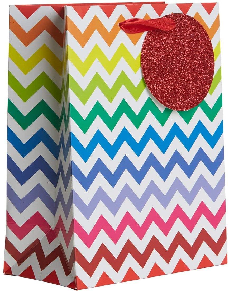 Jillson & Roberts Medium Gift Bags, Bright Chevron (12 Pcs)