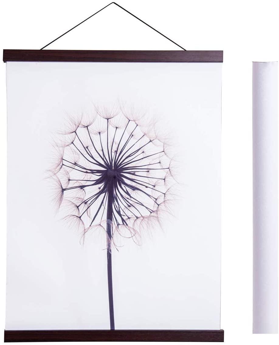 Magnetic Poster Hanger Frame, 17x22 17x24 17x31 Light Wood Wooden Magnet Canvas Artwork Print Dowel Poster Hangers Frames Hanging Kit (Walnut, 17