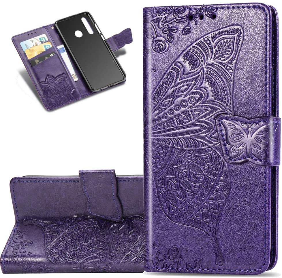 HMTECHUS Huawei P Smart Z case Embossed Card Bookstyle Wallet Premium PU Leather Durable Magnetic Closure Flip Kickstand Full Protection Shockproof Cover for Huawei P Smart Z Butterfly Purple SD