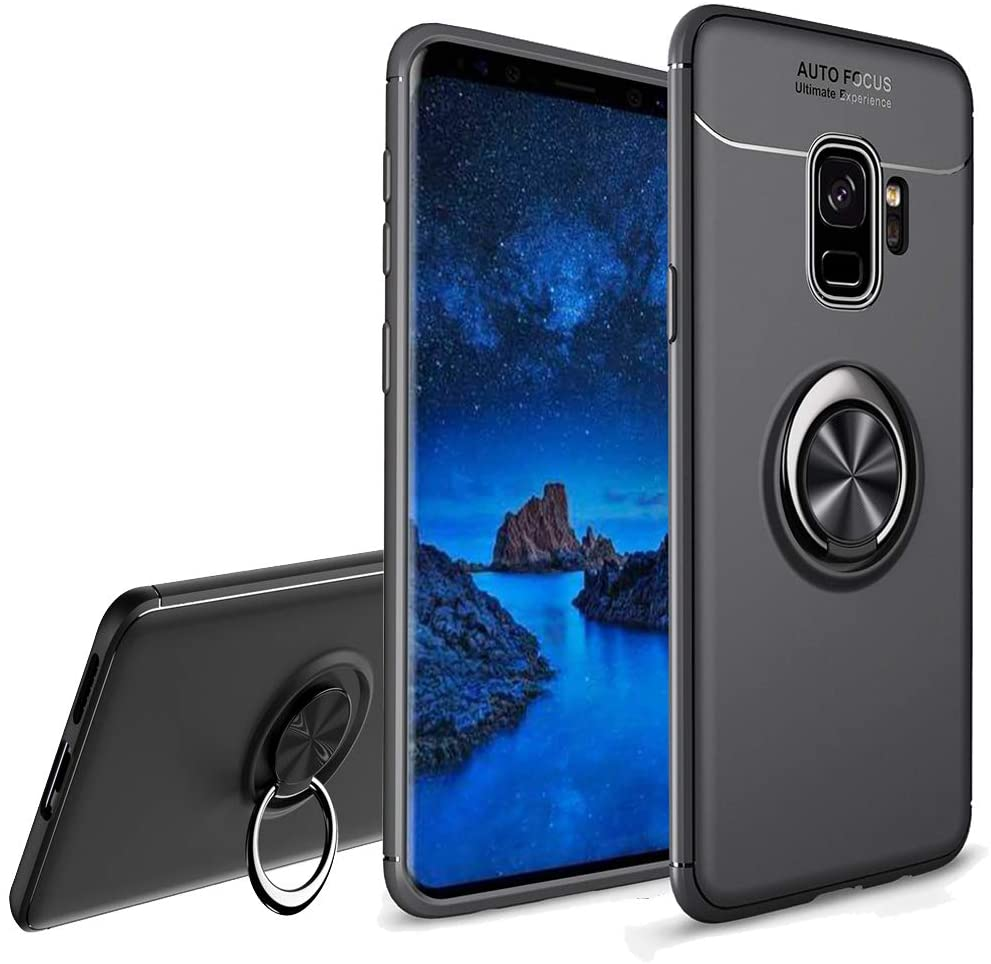 LEMAXELERS Galaxy S9 Case, Soft TPU Ultrathin Anti-Fall Shockproof Protective Case with 360 Degree Magnetic Car Mount Rotating Ring Phone Case for Samsung Galaxy S9 Black SSD