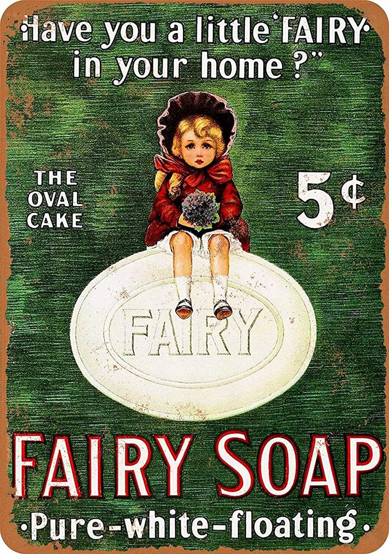 PaBoe 12 x 16 Metal Sign - Fairy Soap - Vintage Decorative Tin Sign