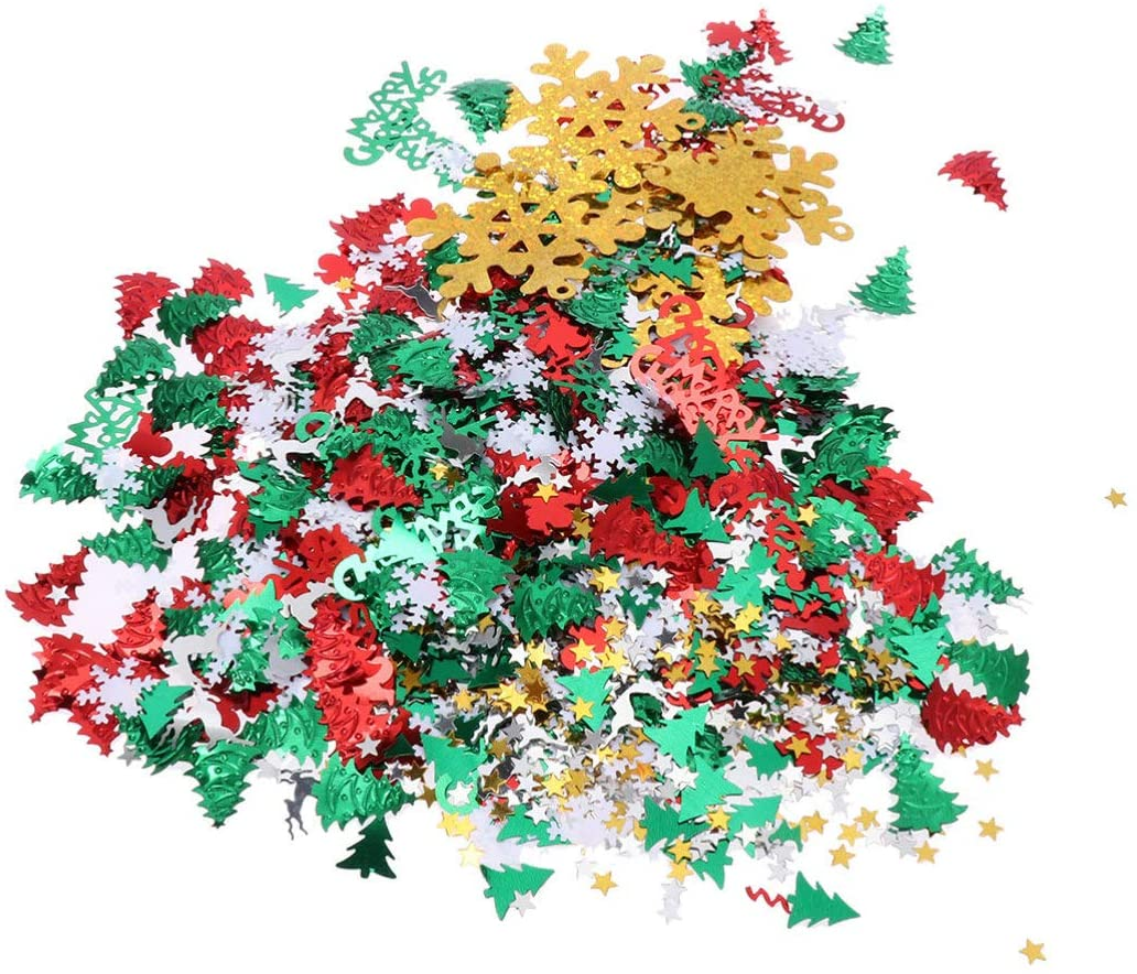 Amosfun Christmas Confetti Christmas Table Scatter Decoration Snowflake Shape Party Confetti 60g