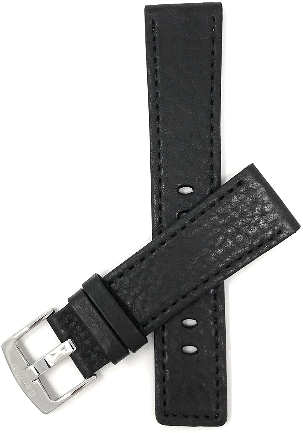 Bandini Mens Leather Watch Band Strap - Square Tip - with or Without Stitch - 2 Colors - 22mm, 24mm, 26mm, 28mm, 30mm