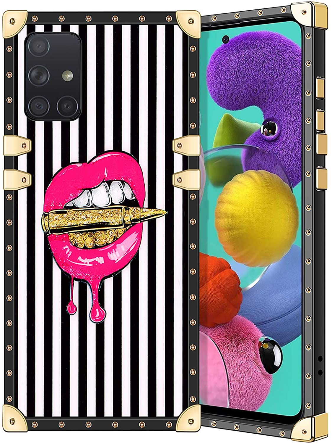 Coolden for Galaxy A51 4G Case Square Glitter Edges Stylish Luxury Totem Pattern for Women Girls Protective Corner Soft Slim TPU Shell Cover for Samsung Galaxy A51 4G Pink Lip