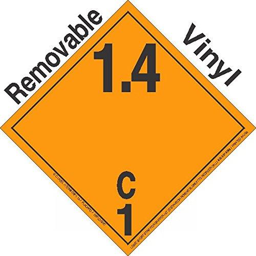 GC Labels-P14Ci, Explosive Class 1.4C Wordless Removable Vinyl DOT Placard, Package of 50 Placards