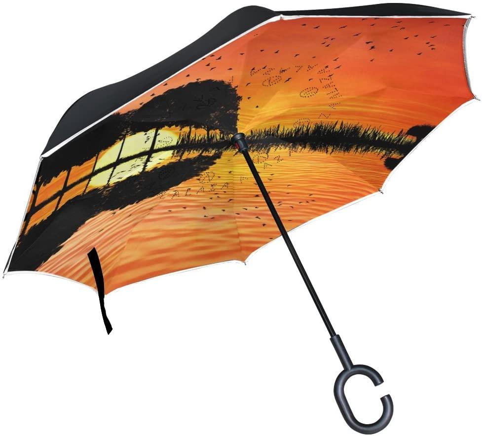 Vipsk Umbrella Reverse Umbrella Red Sunset Tree Gourd Reflection Creative Cars Umbrella Double Layer Inverted Umbrella Windproof Straight Waterproof Inside Out Travel Umbrellas