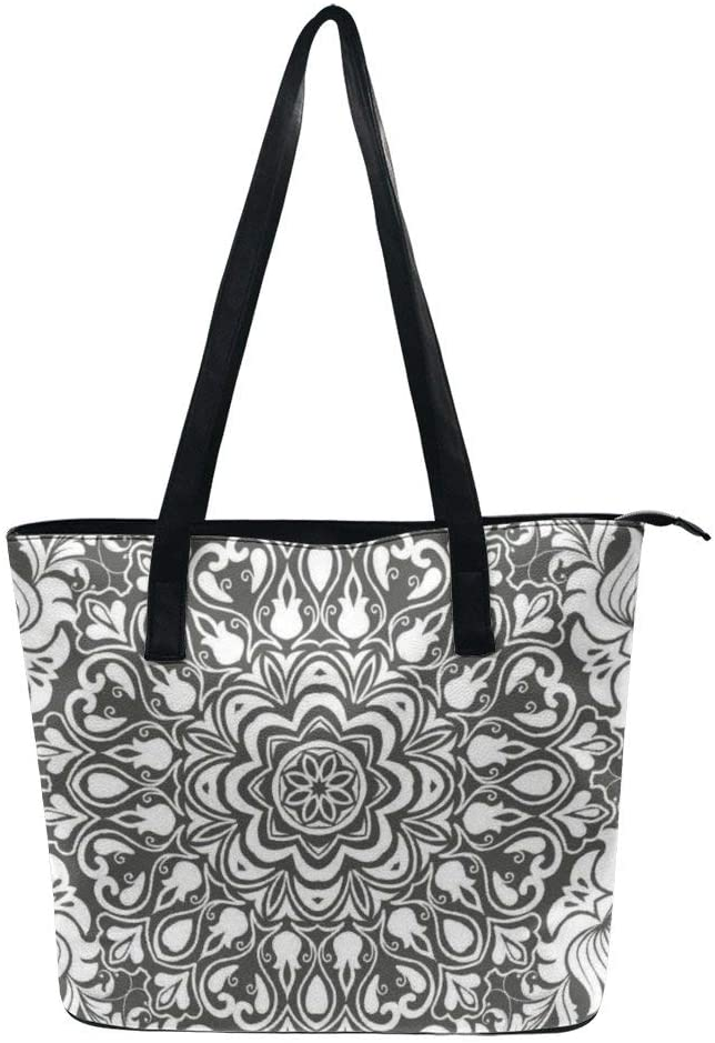 NiYoung Fashion Tote Handbag for Women Girls Teens Bohemian Floral Mystery Design Handle Bag Lightweight Durable PU Leather Waterproof Anti-Theft Zipper Closure Shoulder Bag