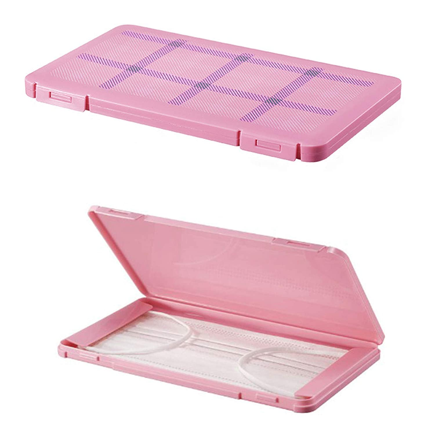 Face Cotton Masks Case Portable Box Health Keeper Storage Container Dustproof Easy Carrying Plaid Pattern Mask Case Organizer Pack of 3 (Cute Powder)