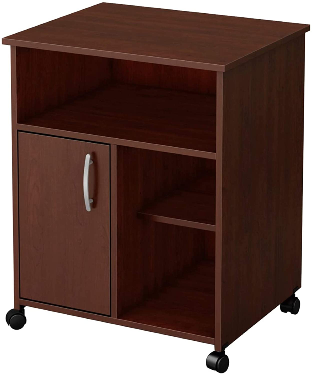 Printer Stand with Door Storage Office Cabinet, Wooden Under Desk Printer Cart Cabinet with Wheels Brown Color Durable File Cabinet, Books, Photos, Files Storage Organizer, Ideal for Office