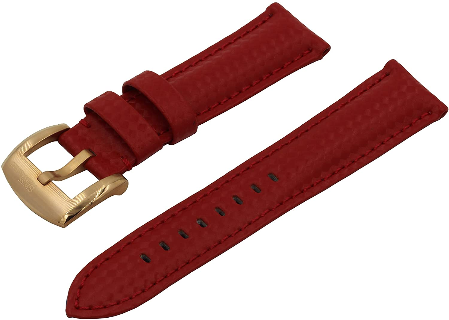 SWISS REIMAGINED Real Leather Carbon Fiber Emboss Replacement Watch Band Signature Buckle