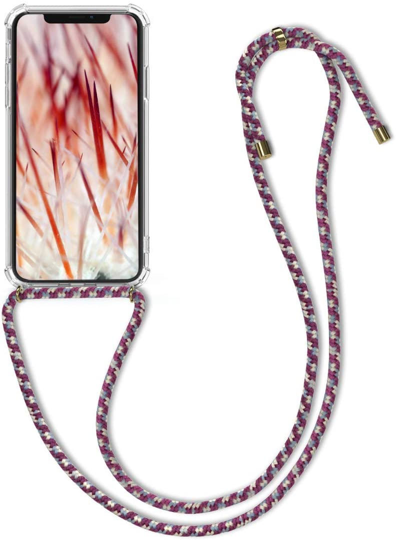 kwmobile Crossbody Case Compatible with Apple iPhone Xs - Clear Transparent TPU Cell Phone Cover with Neck Cord Lanyard Strap - Transparent/Violet/Yellow