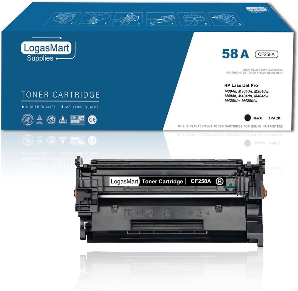 LogasMart (No Chip) CF258A Compatible HP 58A Toner Cartridge Replacement for HP Laserjet Pro M404n M404dn M404dw MFP M428fdn M428dw M304 M404 M428 Printer Toner, 1-Pack