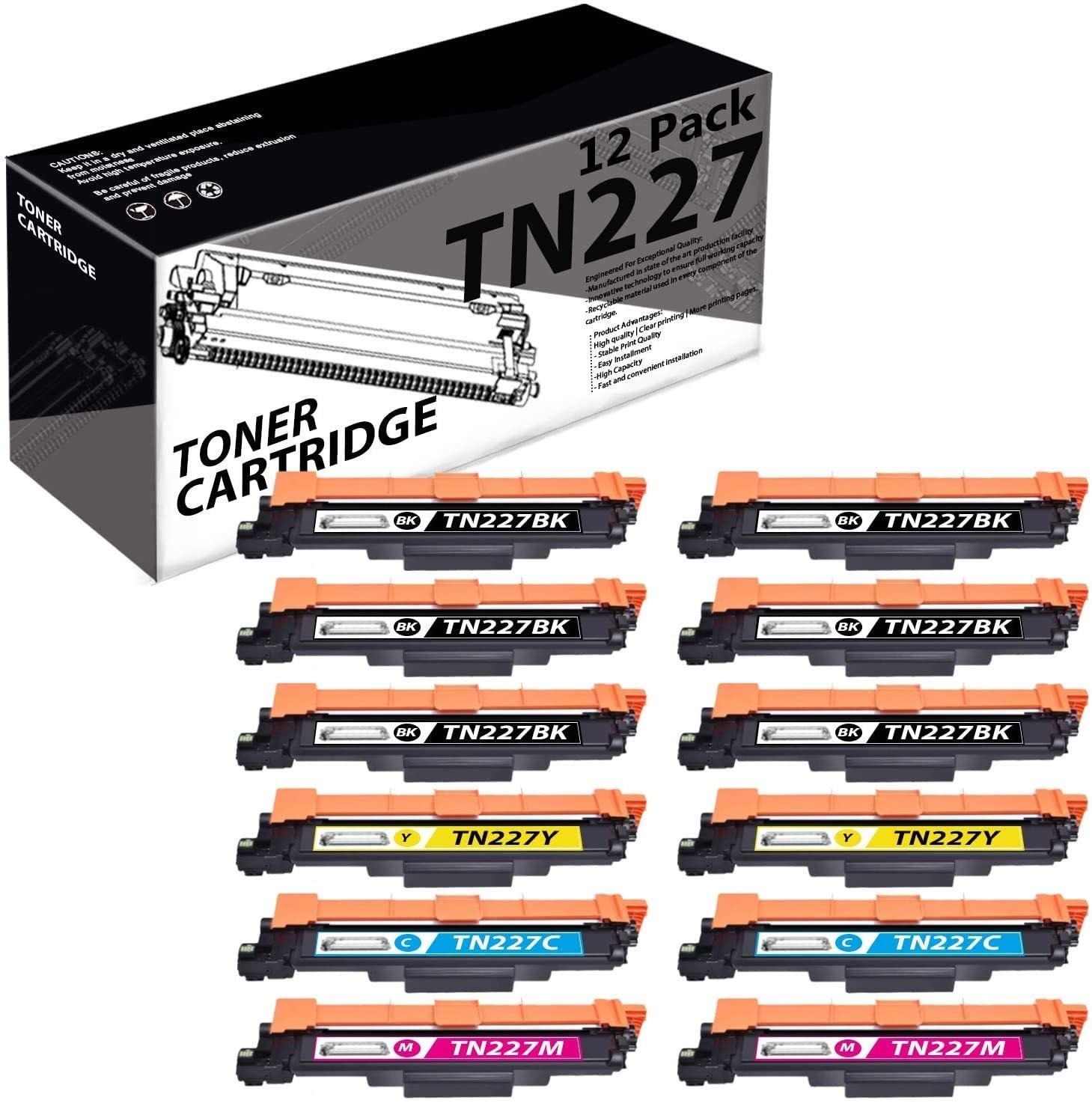 TN227(12 Pack-6K+2C+2M+2Y) Compatible Toner Cartridge Replacement for Brother HL-3210CW 3230CDW 3270CDW DCP-L3510CDW L3550CDW MFC-L3770CDW L3710CW L3750CDW Printers.
