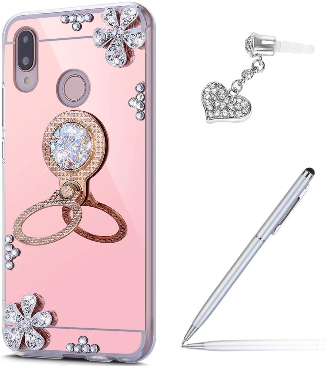 Case for Huawei P20 Lite Diamond Case,Crystal Inlaid diamond Flowers Rhinestone Diamond Glitter Bling Mirror Back TPU Case & Ring Stand + Touch Pen Dust Plug for Huawei P20 Lite Mirror Case,Rose Gold