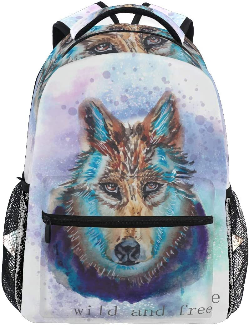 ALAZA Lightweight Backpack for School,Wild Wolf School Bookbags Laptop Backpack Casual Travel for Youth Boys and Girls Back to School