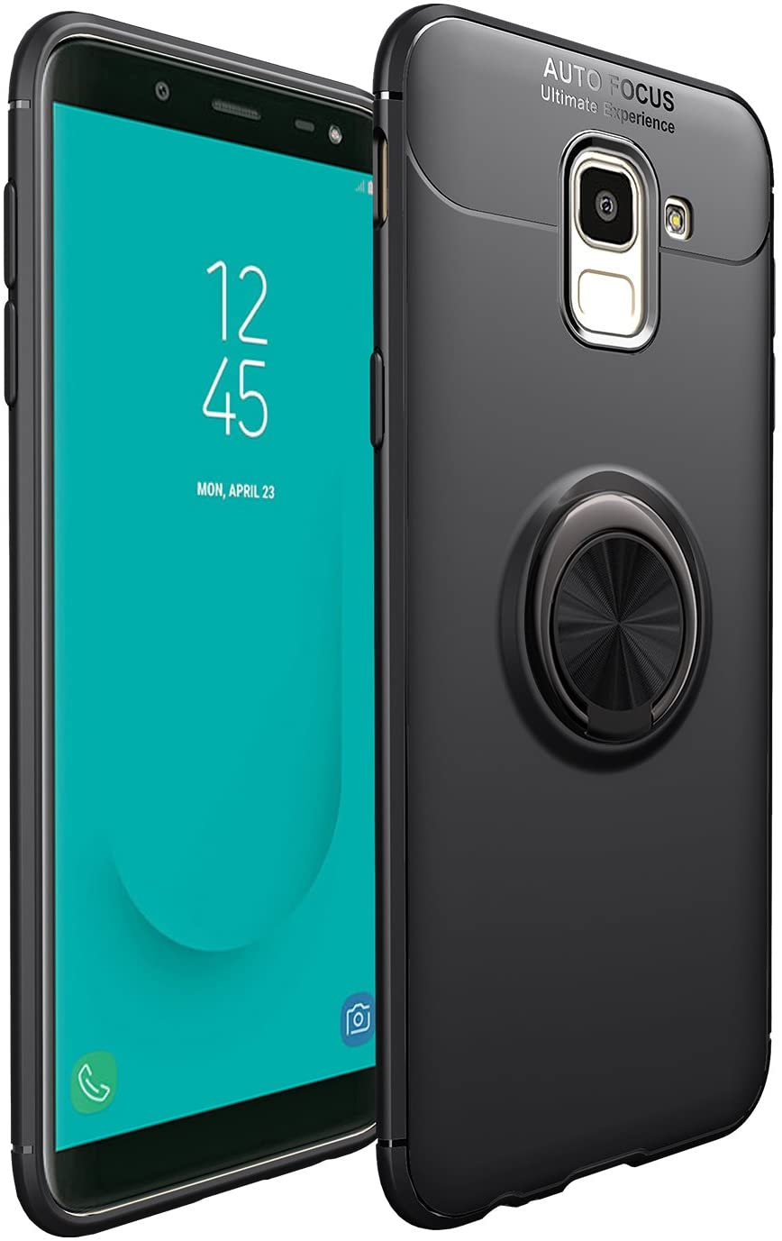 Jaorty for Samsung Galaxy J6 2018 Case,360 Degree Rotation Invisible Metal Ring Kickstand Protective Case Compatible Magnetic Car Mount Soft TPU Case Shockproof Anti-Scratch Cover,Black