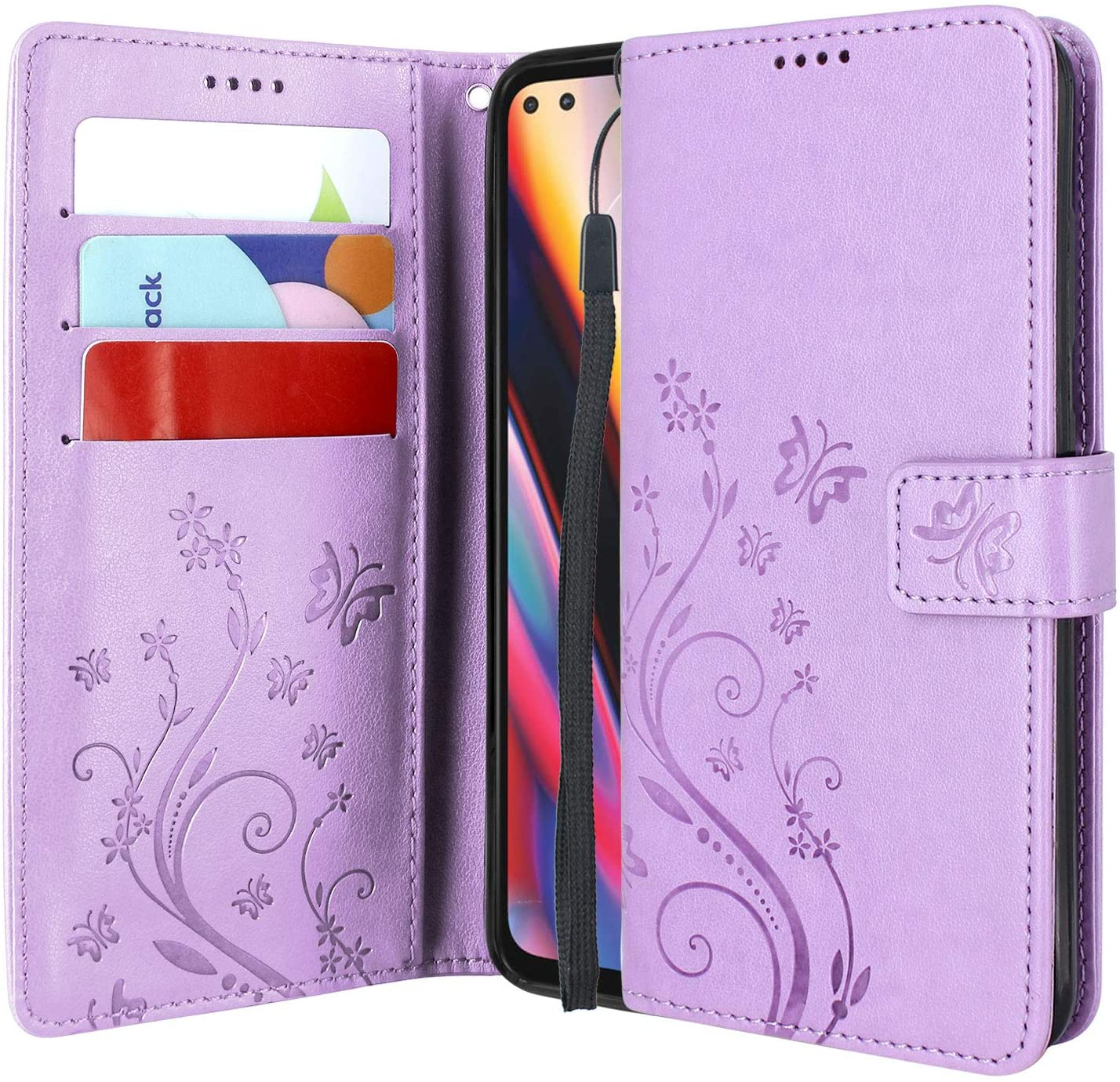 Lacass Floral Butterfly PU Leather Flip Wallet Case Cover Kickstand with Card Slots and Wrist Strap for Motorola Moto One 5G 2020 (Light Purple)