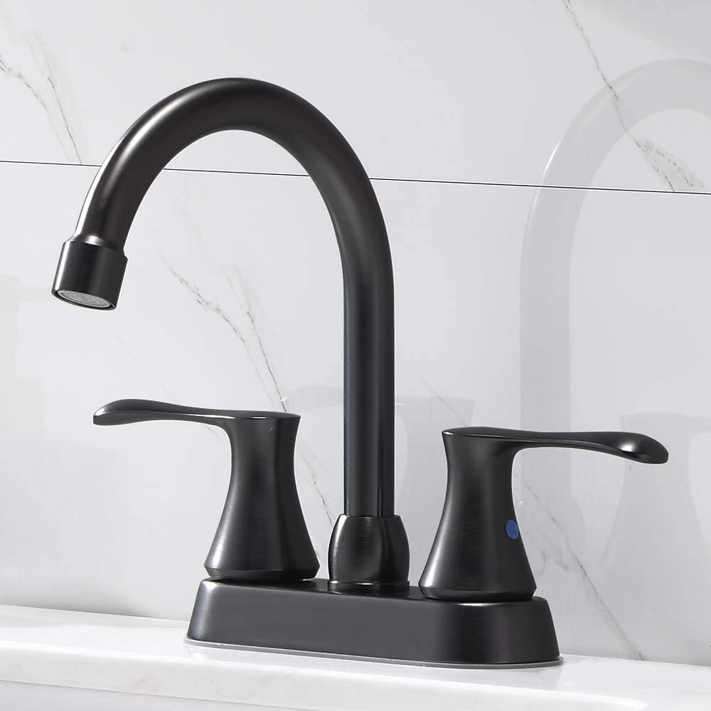 Popity Best Double Handle Matte Black Basin Vanity Bathroom Faucet,Stainless Steel Lavatory Bathroom Sink Faucet with Pop Up Drain and Hot & Cold Water Hose