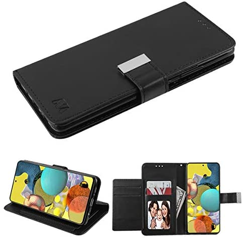 Kaleidio Case Compatible for Samsung Galaxy A51 5G [Xtra Series] PU Leather Hybrid [Foldable Stand Feature] Wallet Flip Cover [Black/Black]