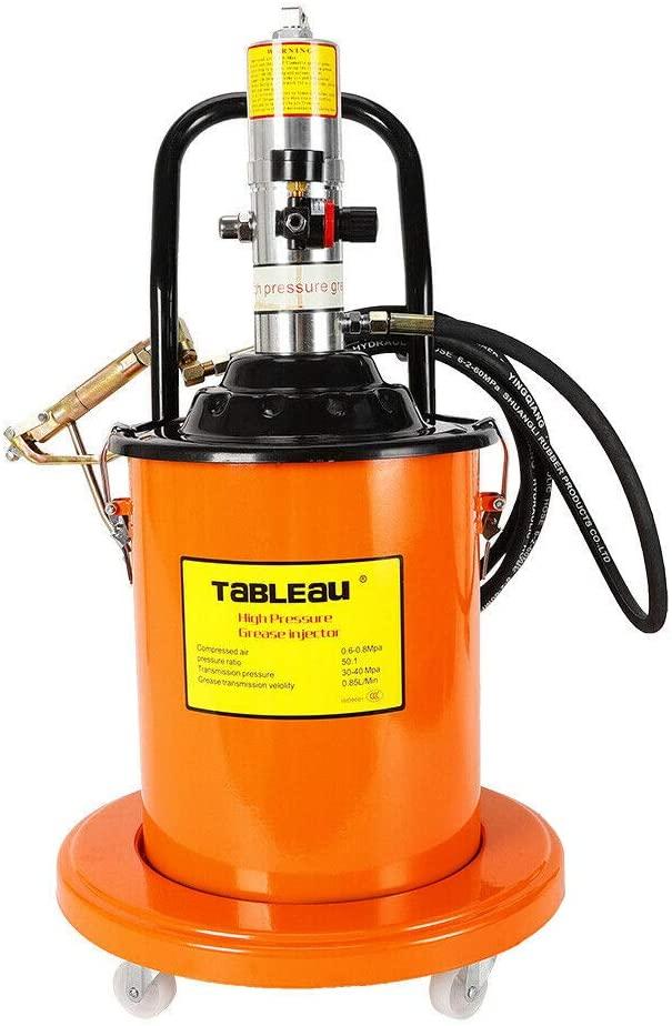 NICE CHOOSE Grease Pump, 20L 5 Gallons Air Operated High Pressure Grease Pump Kit with Gas-Pressure Meter, Pneumatic Universal Gun & Hydraulic Hose