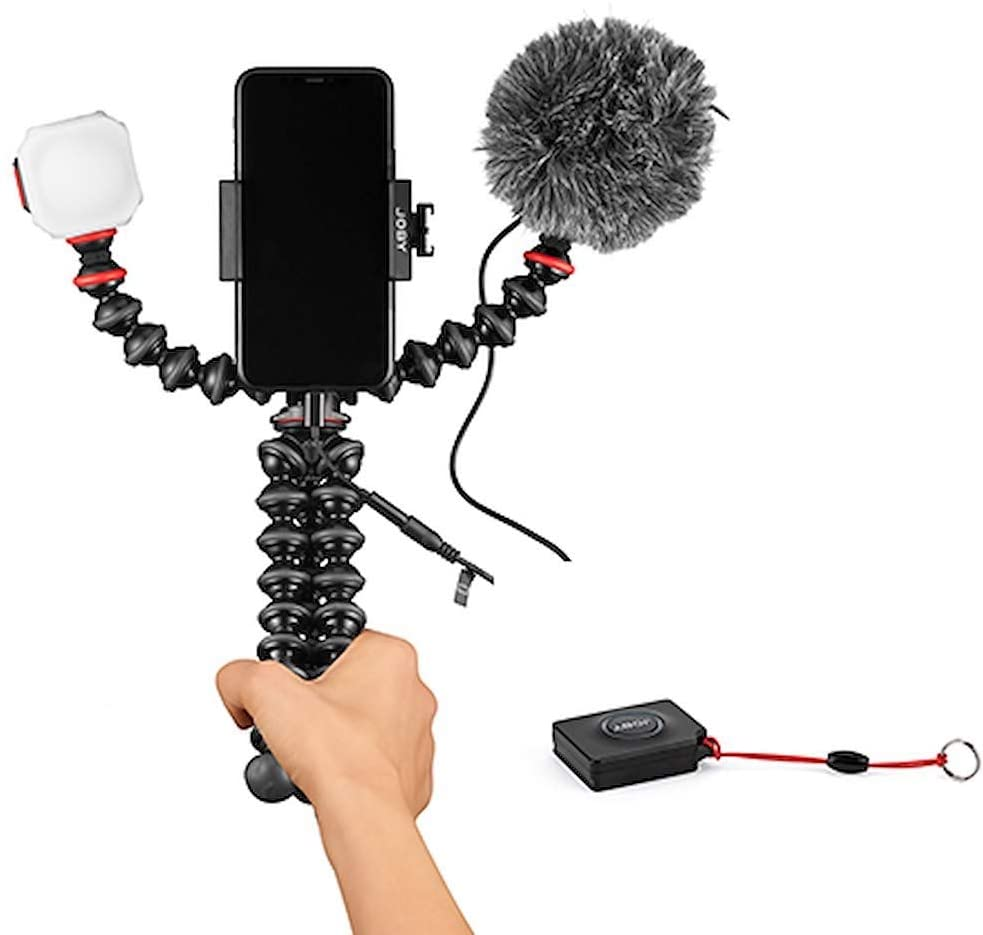 JOBY GorillaPod Mobile Vlogging Kit with Bluetooth Impulse Remote, Smartphone Gimbal Holder, Flexible Tripod, with Wavo Mobile Microphone, Beamo Mini LED Light, Starter Kit for Content Creators
