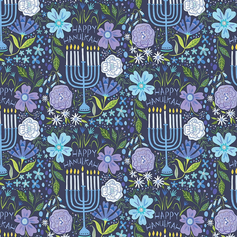 Jillson & Roberts Bulk Hanukkah Gift Wrapping Paper, Floral Menorah, Full Ream 833 feet x 24 inches