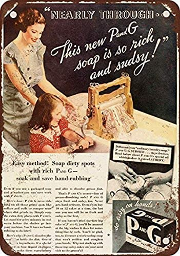Houseuse 1934 P and G Naphtha Soap Vintage Look Reproduction Metal Tin Sign 12X16 Inches