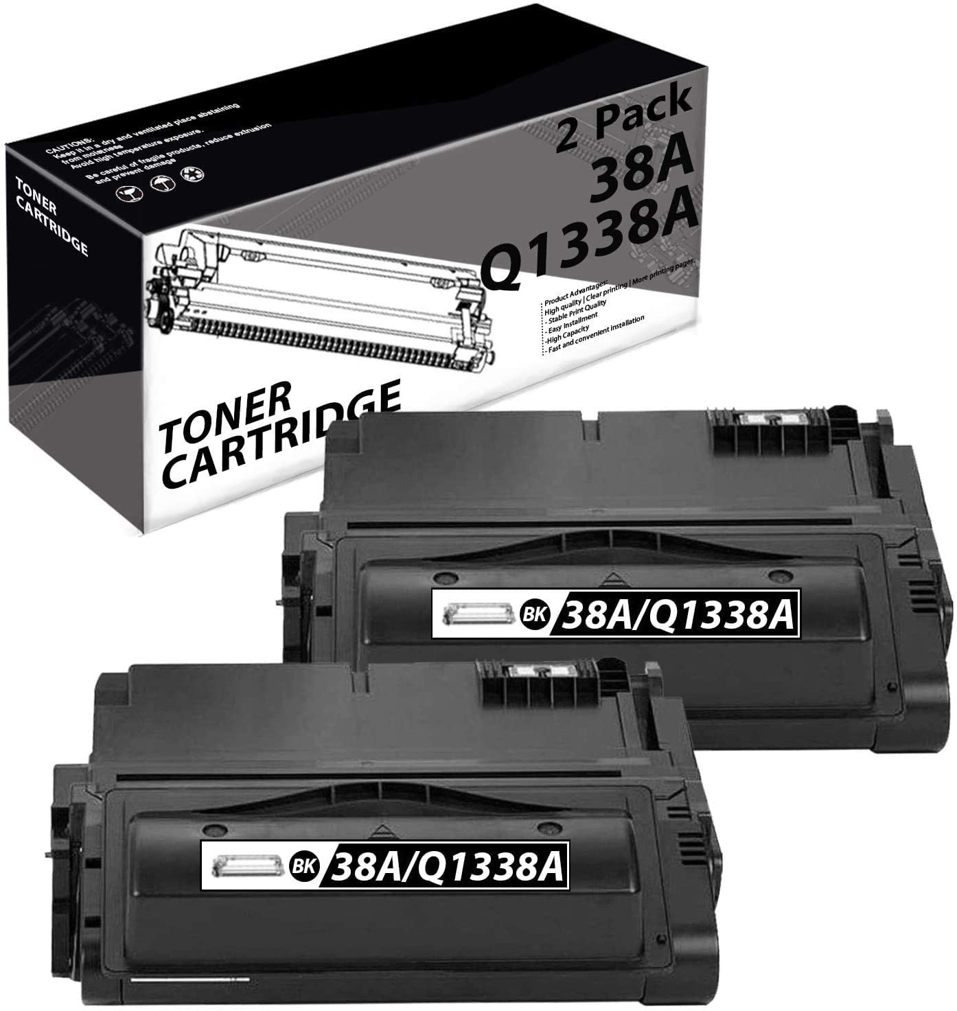 38A | Q1338A(2 Pack-Black) Compatible Toner Cartridge Replacement for HP Laserjet 4300 4300n 4200 4200N 4250 4250n 4350 4350n M4345xs M4345 MFP Laser Printers.