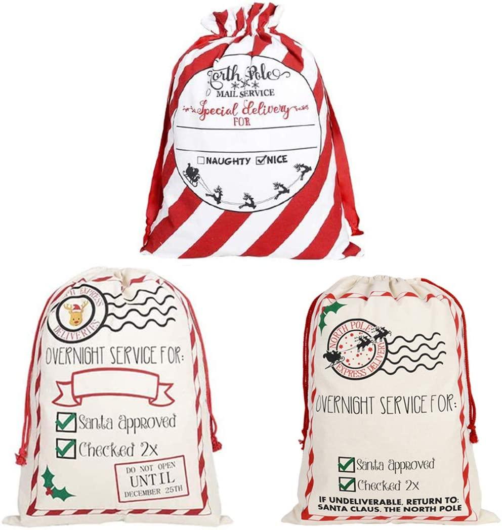 GKanMore 3Pcs Christmas Drawstring Bags Extra Large Santa Sack 27.6