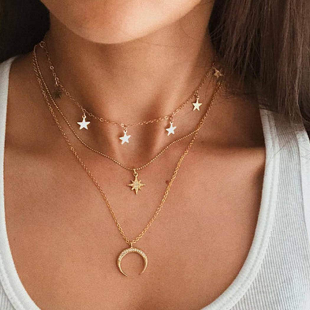 Casdre Boho Layered Crystal Necklace Chain Gold Beaded Pendant Necklace Moon Star Necklace Jewelry Adjustable Chain for Women and Girls