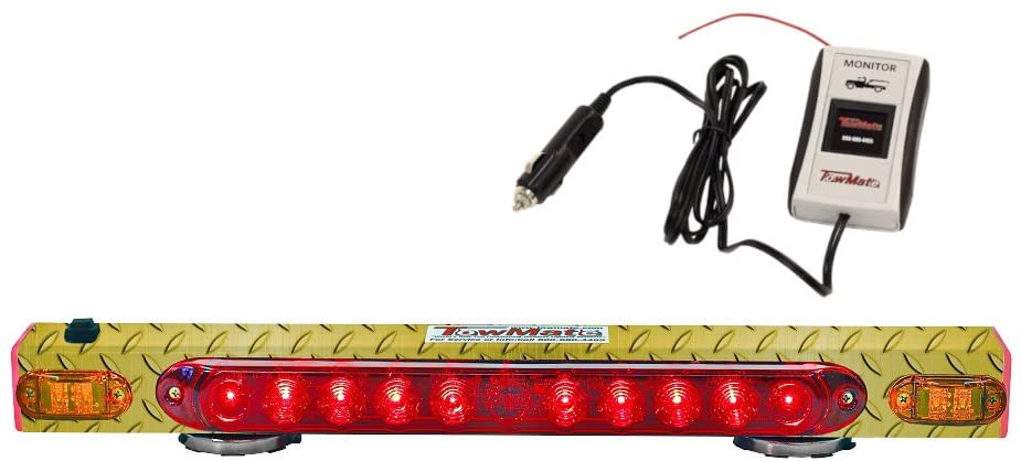 21'' Wireless Tow Light Magnetic Tailing System w/Amber Indicator Yellow Diamond Plate and additional safety strip 4 Pin Round Transmitter w/iMon System