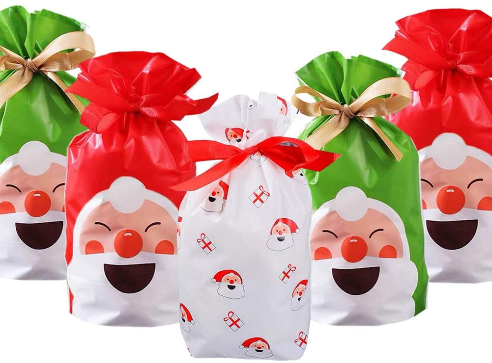 24pcs Christmas Treat Bags Christmas Party Favor Bags Goodies Bags Santa Plastic Drawstring Bags Candy Goodies Bags Gift Wrapping Bags Holiday Party Decoration