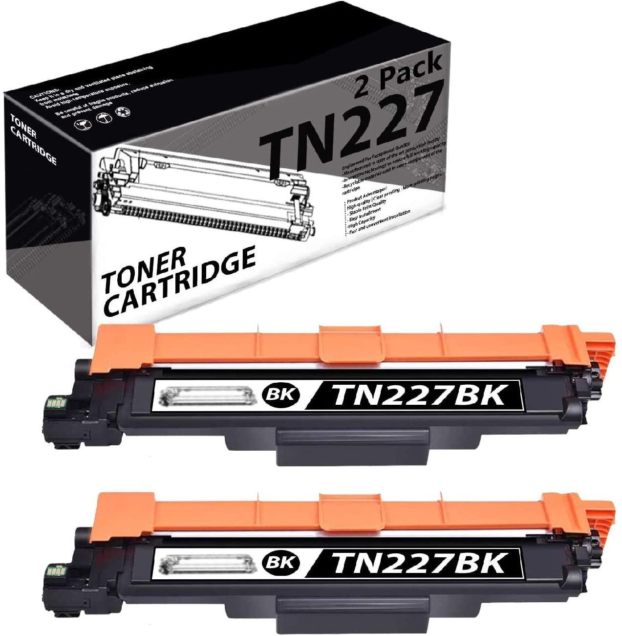 TN227(2 Pack-Black) Compatible Toner Cartridge Replacement for Brother HL-3210CW 3230CDW 3270CDW DCP-L3510CDW L3550CDW MFC-L3770CDW L3710CW L3750CDW Printers.